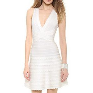 HERVE LEGER Nikayla Dress Alabaster Double V